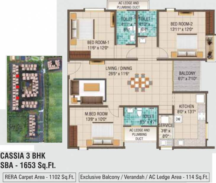Alliance Galleria Residences (3BHK+3T (1,653 sq ft) 1653 sq ft)
