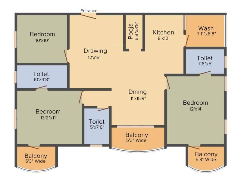 Trishala Saffron Sanathan (3BHK+3T (1,610 sq ft) + Pooja Room 1610 sq ft)