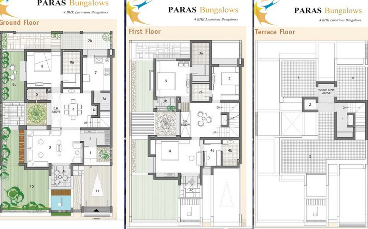 2520 sq ft 4 bhk 4t villa for sale in galaxy group paras for Four bhk bungalow plan