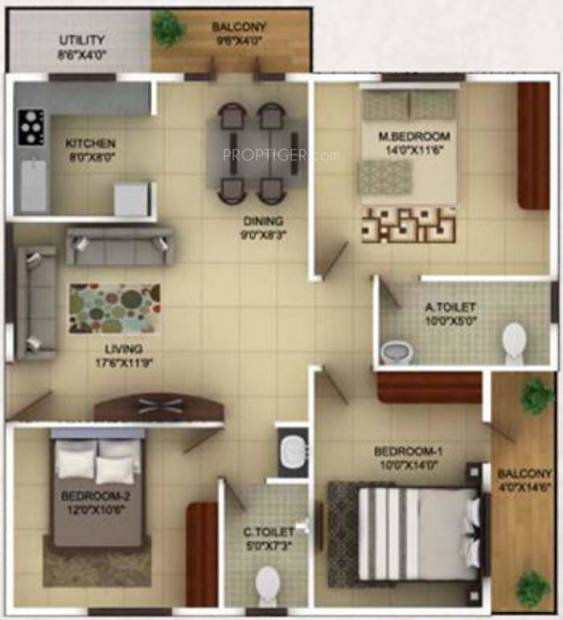 TG Epitome (3BHK+2T (1,355 sq ft) 1355 sq ft)