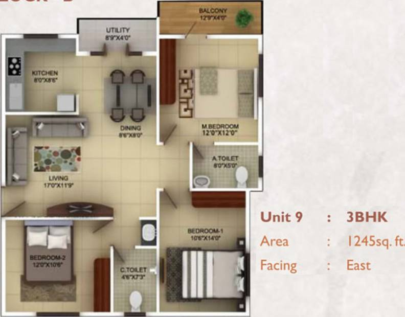 TG Epitome (3BHK+2T (1,245 sq ft) 1245 sq ft)