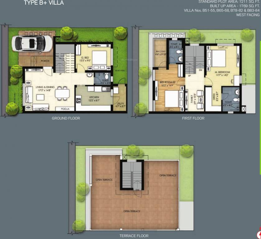 Emerald Hills Apartments: 1769 Sq Ft 3 BHK 3T Villa For Sale In TVS Emerald Green