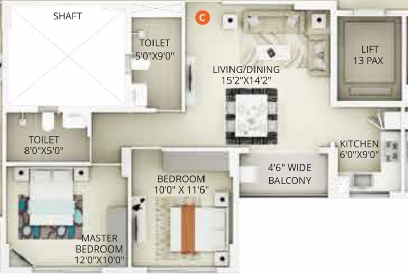 Primarc Projects and Srijan Realty and Riya Group Southwinds (2BHK+2T (940 sq ft) 940 sq ft)