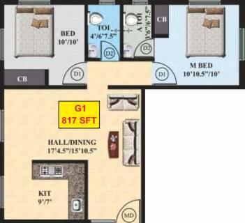 817 Sq Ft 2 Bhk Floor Plan Image Yashva Classic Homes Classic Elite Available For Sale Proptiger Com