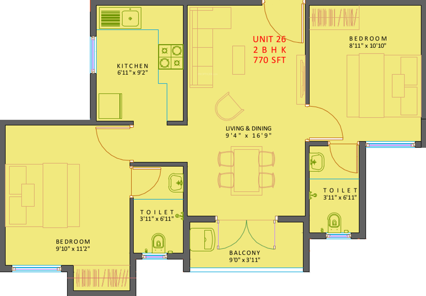 770 Sq Ft 2 Bhk 2t Apartment For Sale In Xs Real Courtyard