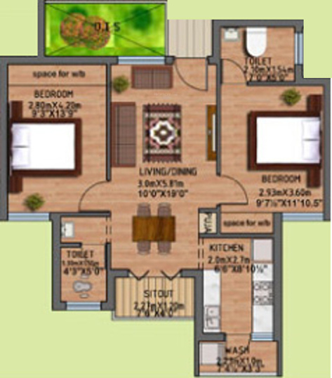 Alpha Kamban Estate Phase I (2BHK+2T (900 sq ft) 900 sq ft)