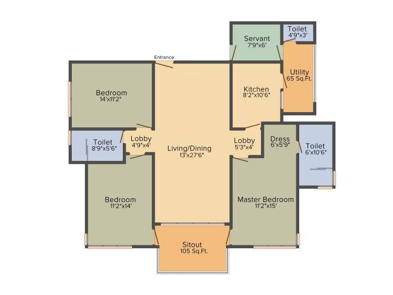 Vipul Aarohan (3BHK+2T (2,025 sq ft)   Servant Room 2025 sq ft)