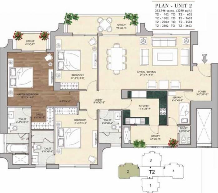 Vipul Aarohan (3BHK+3T (2,290 sq ft)   Servant Room 2290 sq ft)