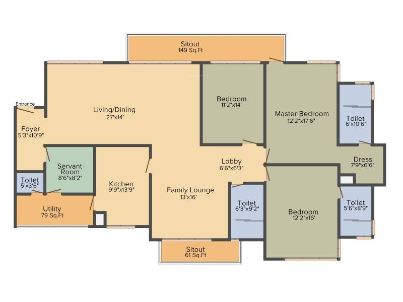 Vipul Aarohan (3BHK+3T (2,940 sq ft)   Servant Room 2940 sq ft)