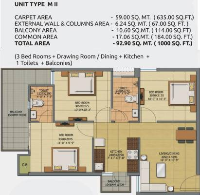 700 sq ft 1 bhk 1t apartment for sale in gaursons anmol