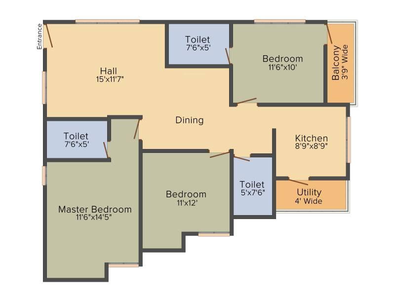 DEC Sukriti Apartment (3BHK+3T (1,350 sq ft) 1350 sq ft)