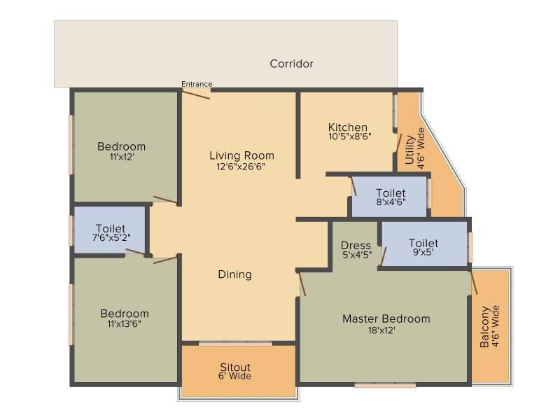 DEC Sukriti Apartment (3BHK+3T (1,791 sq ft) + Pooja Room 1791 sq ft)