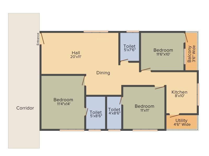 DEC Sukriti Apartment (3BHK+3T (1,378 sq ft) 1378 sq ft)