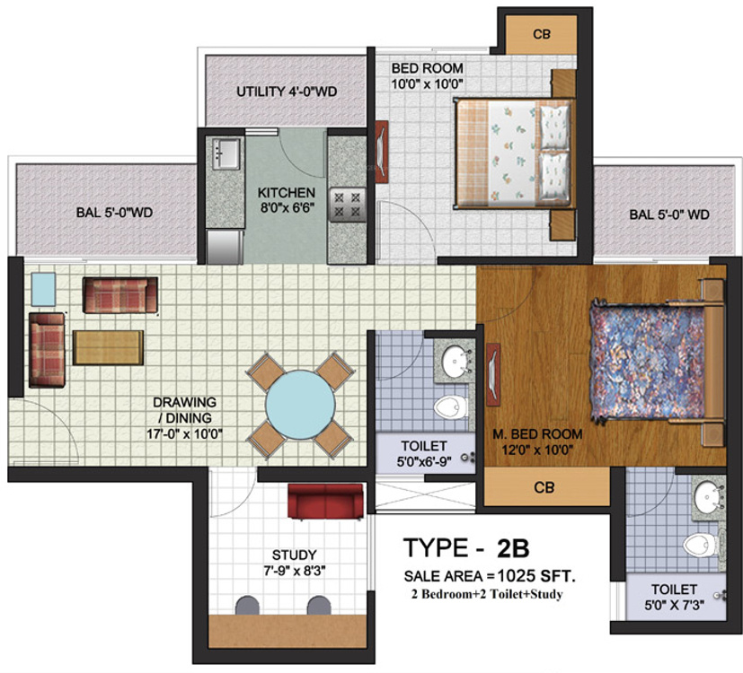 1025 sq ft 2 bhk 2t apartment for sale in amrapali augusta for 13th floor augusta tower