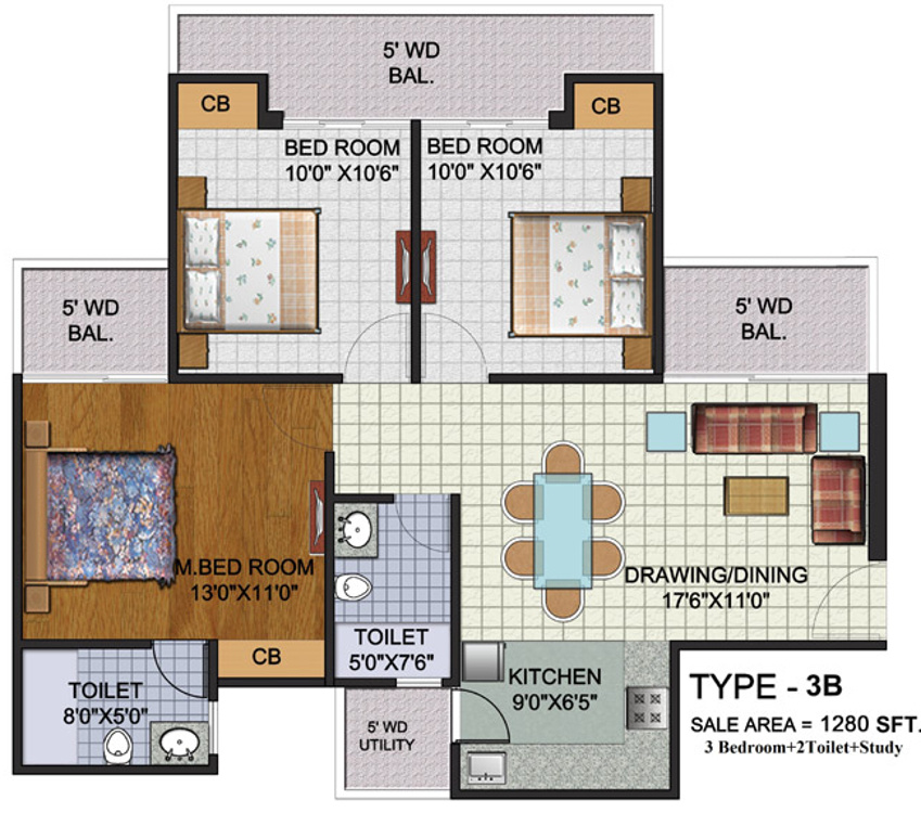 1280 sq ft 3 bhk 2t apartment for sale in amrapali augusta for 13th floor augusta tower