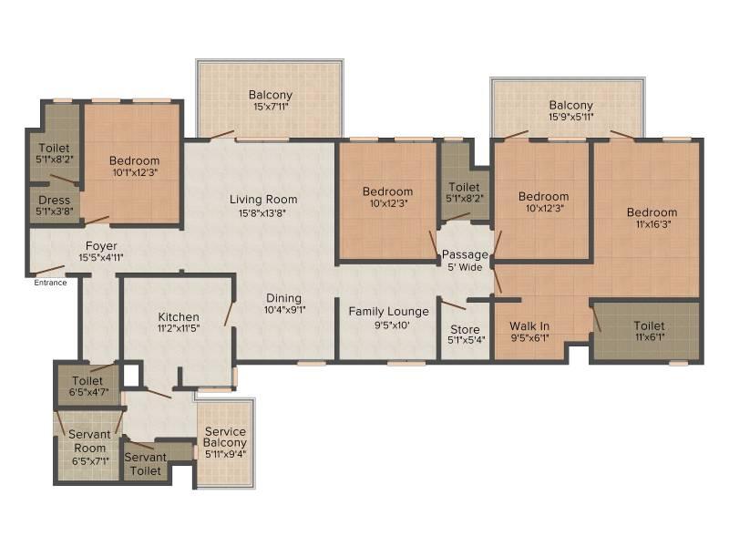 Ireo The Corridors (4BHK+4T (2,740 sq ft) + Servant Room 2740 sq ft)