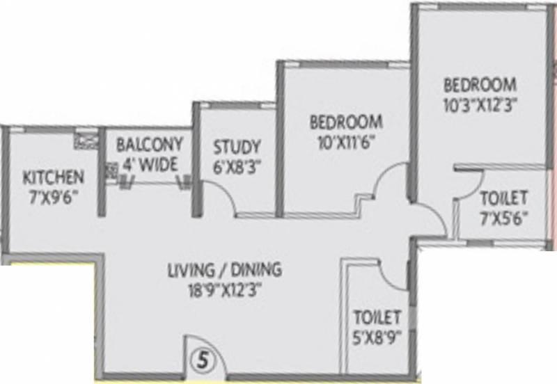 Siddha Galaxia 2 (2BHK+2T (1,110 sq ft) + Study Room 1110 sq ft)