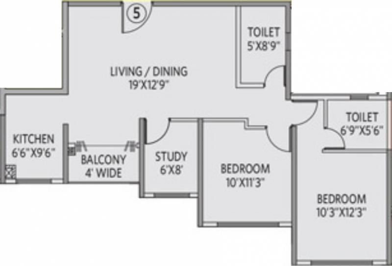 Siddha Galaxia 2 (2BHK+2T (1,130 sq ft) + Study Room 1130 sq ft)
