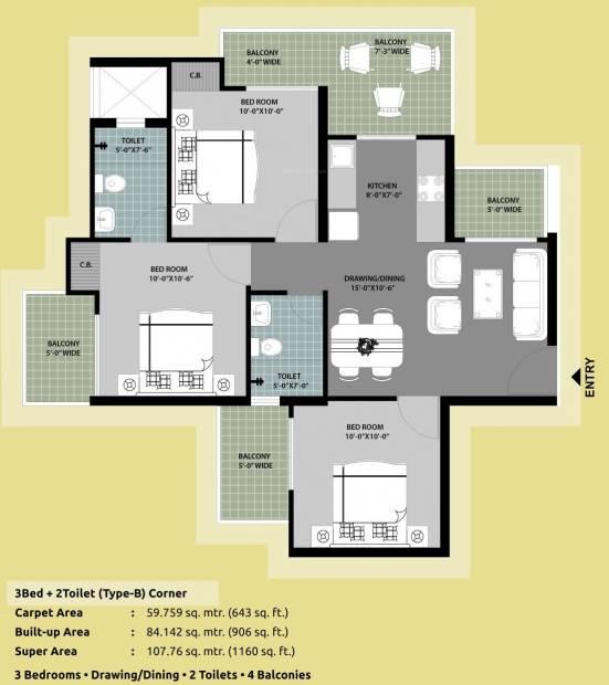 Arihant Abode (3BHK+2T (1,160 sq ft) 1160 sq ft)