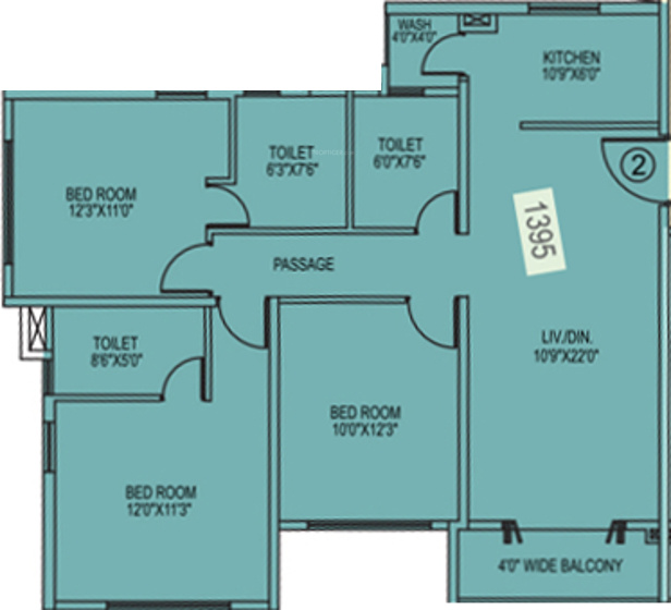 Siddha Happyville (3BHK+3T (1,395 sq ft) + Study Room 1395 sq ft)