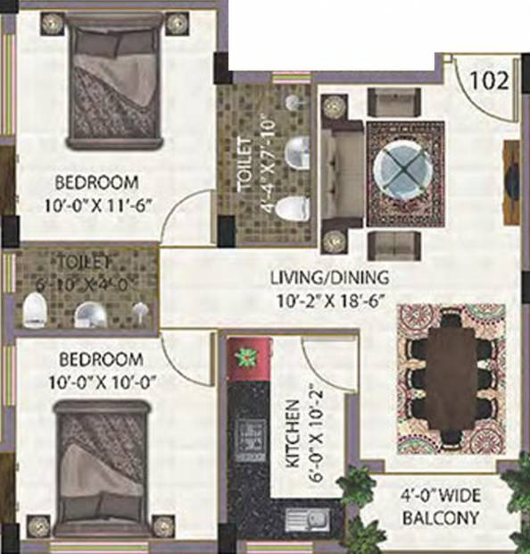 Baron Sonarbhoomi (2BHK+2T (944 sq ft) 944 sq ft)