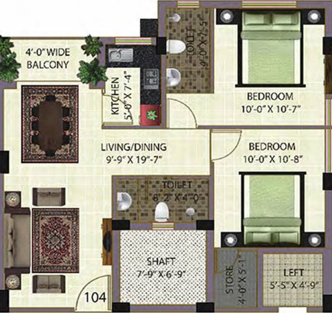Baron Sonarbhoomi (2BHK+2T (928 sq ft) 928 sq ft)