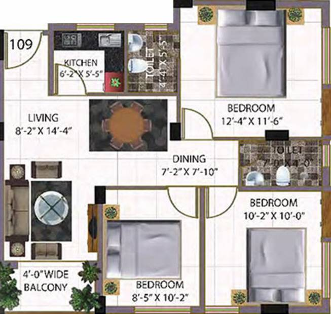 Baron Sonarbhoomi (3BHK+2T (1,050 sq ft) 1050 sq ft)