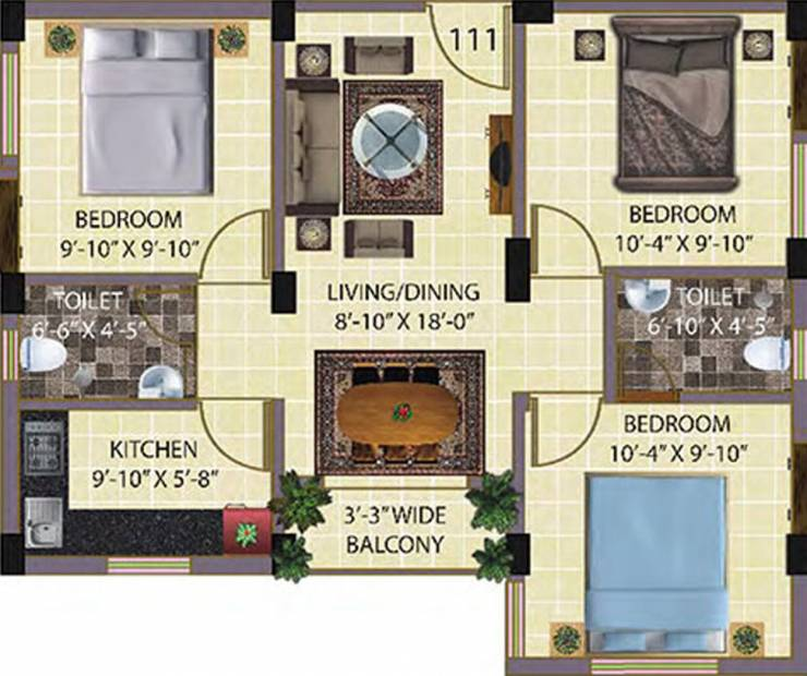 Baron Sonarbhoomi (3BHK+2T (1,004 sq ft) 1004 sq ft)