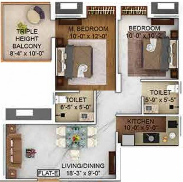 Merlin The One (2BHK+2T (694 sq ft) 694 sq ft)