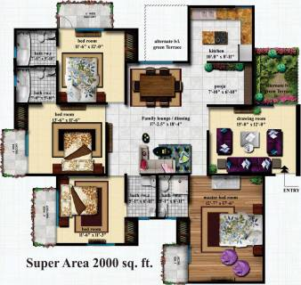 2000 Sq Ft 4 Bhk Floor Plan Image Delhi Infratech Homes