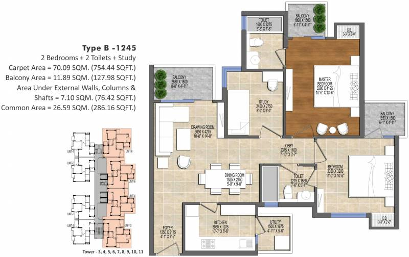 Ace Divino (2BHK+2T (1,245 sq ft)   Study Room 1245 sq ft)