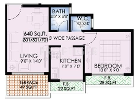 640 sq ft 1 bhk 1t apartment for sale in mk dev pearl for 640 square feet floor plan