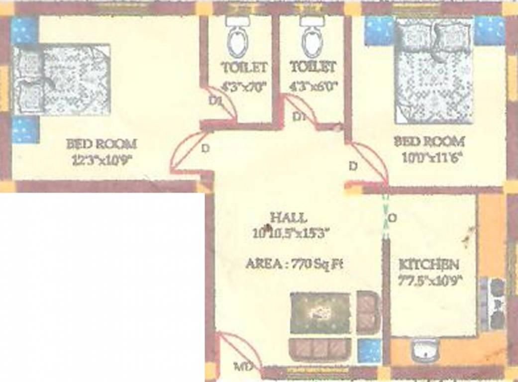 770 sq ft 2 bhk 2t apartment for sale in tirupatiyar royal for 770 plan