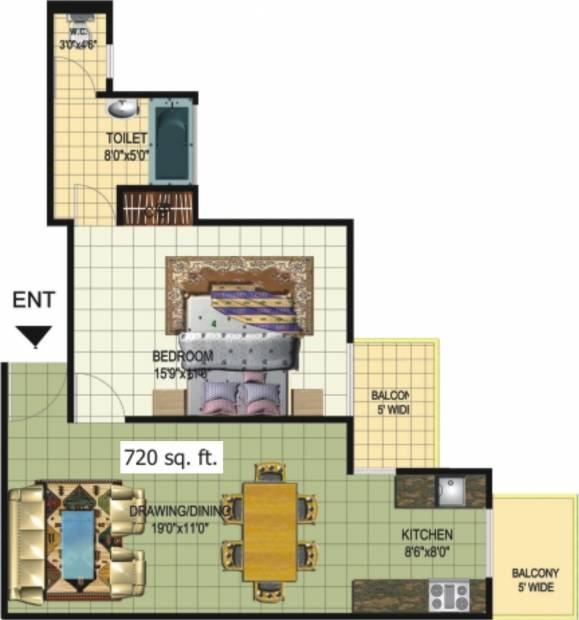 Amrapali Princely Estate (1BHK+1T (720 sq ft) 720 sq ft)