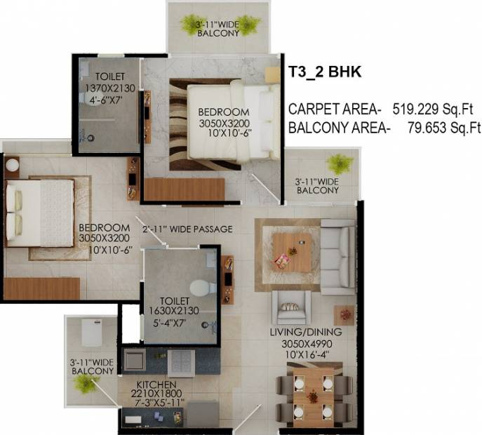 519 Sq Ft 2 Bhk Floor Plan Image Signature Global The