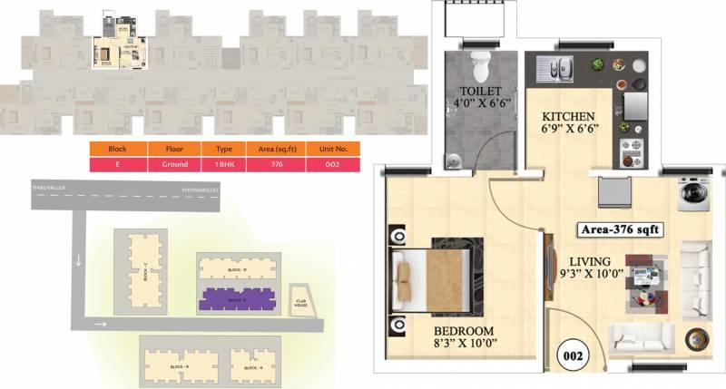 Vijay Raja Ideal Homes (1BHK+1T (376 sq ft) 376 sq ft)