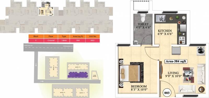 Vijay Raja Ideal Homes (1BHK+1T (384 sq ft) 384 sq ft)