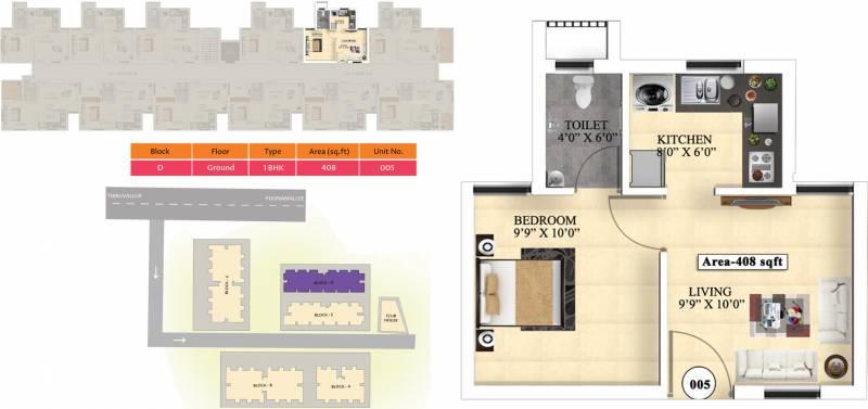 Vijay Raja Ideal Homes (1BHK+1T (408 sq ft) 408 sq ft)