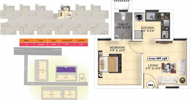 Vijay Raja Ideal Homes (1BHK+1T (409 sq ft) 409 sq ft)