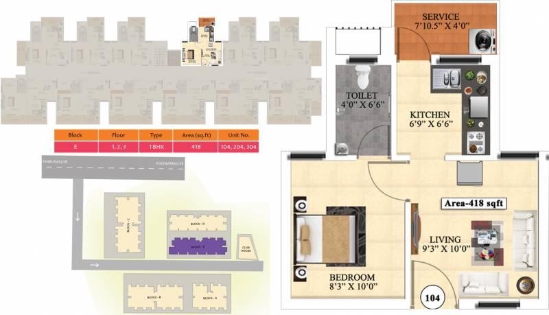 Vijay Raja Ideal Homes (1BHK+1T (418 sq ft) 418 sq ft)