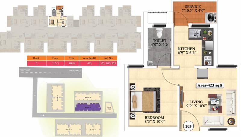 Vijay Raja Ideal Homes (1BHK+1T (423 sq ft) 423 sq ft)