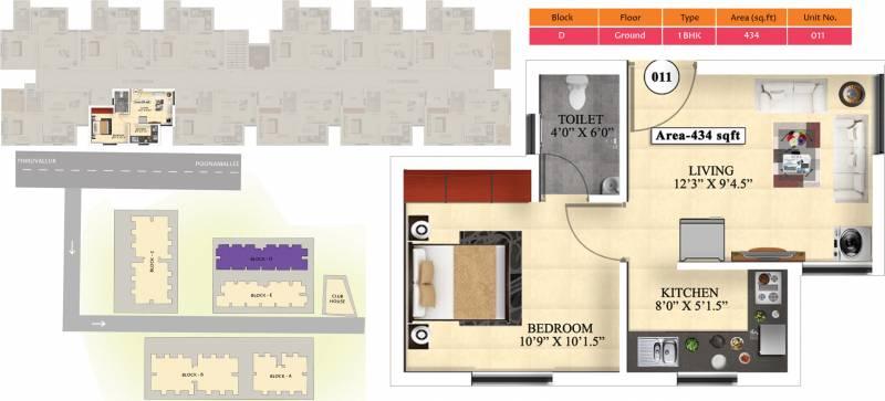 Vijay Raja Ideal Homes (1BHK+1T (434 sq ft) 434 sq ft)