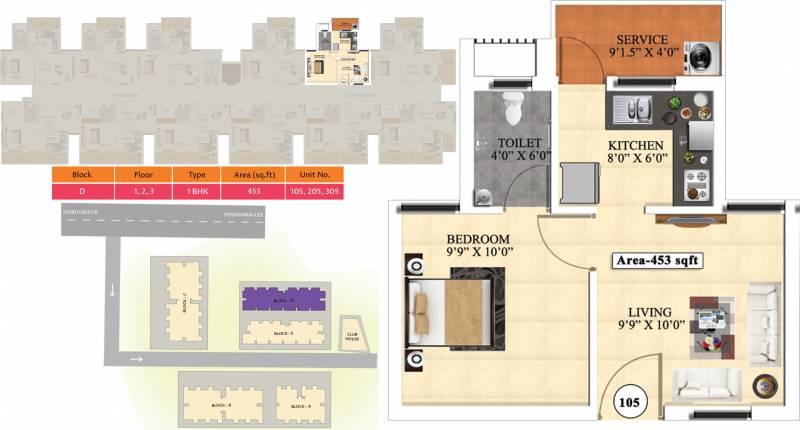 Vijay Raja Ideal Homes (1BHK+1T (453 sq ft) 453 sq ft)