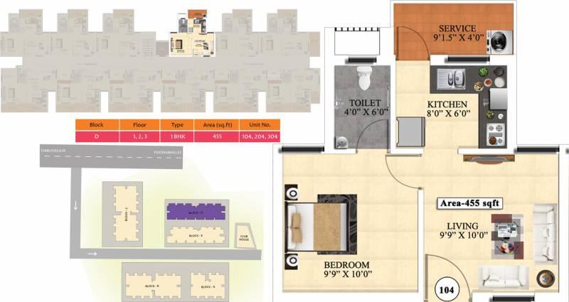 Vijay Raja Ideal Homes (1BHK+1T (455 sq ft) 455 sq ft)