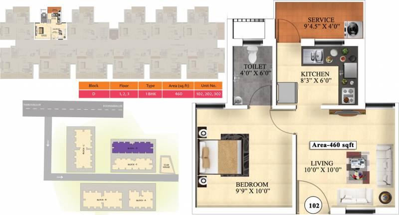 Vijay Raja Ideal Homes (1BHK+1T (460 sq ft) 460 sq ft)