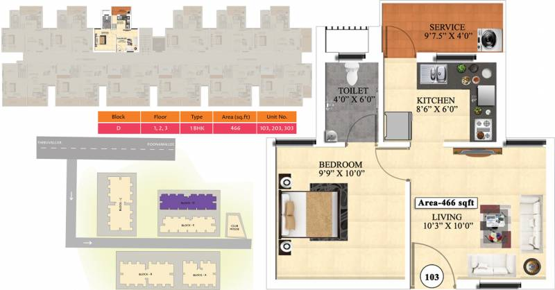 Vijay Raja Ideal Homes (1BHK+1T (466 sq ft) 466 sq ft)