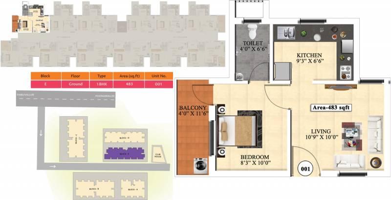 Vijay Raja Ideal Homes (1BHK+1T (483 sq ft) 483 sq ft)