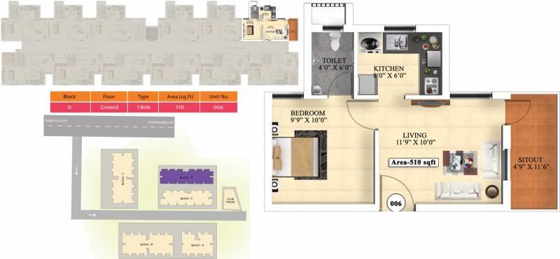 Vijay Raja Ideal Homes (1BHK+1T (510 sq ft) 510 sq ft)