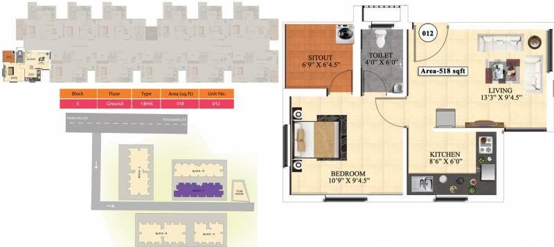 Vijay Raja Ideal Homes (1BHK+1T (518 sq ft) 518 sq ft)