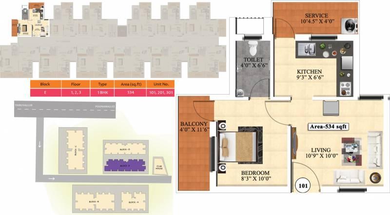 Vijay Raja Ideal Homes (1BHK+1T (534 sq ft) 534 sq ft)